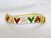 Beautiful Diamond Navratna Floral Bracelet